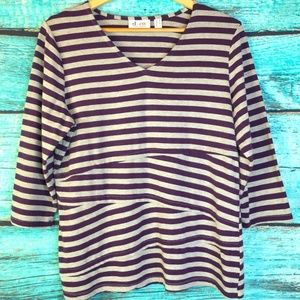 Denim & Company Striped Blouse 3/4 Sleeves